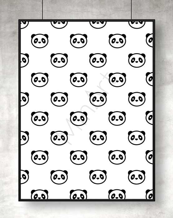 Panda-tavla. Tavla fylld med pandor som passar perfekt i ett barnrum