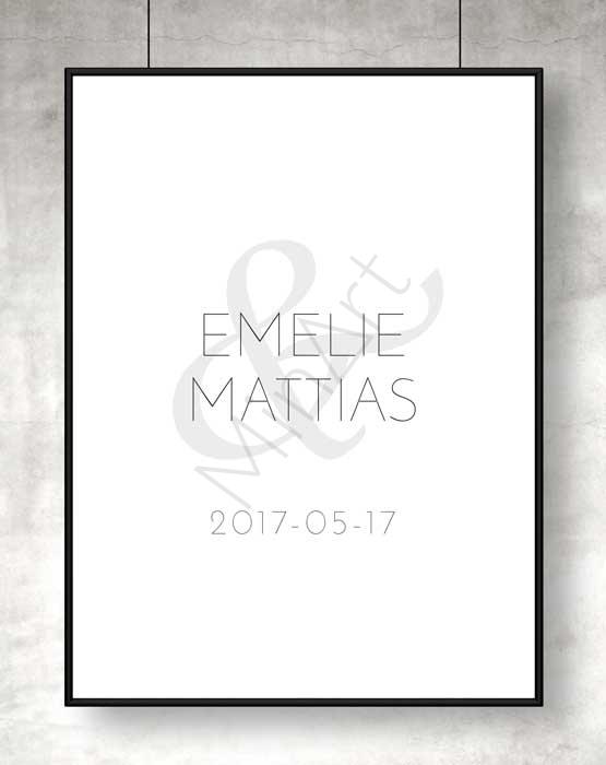 Modern kärlekstavla i svartvitt med namn och datum ni själva väljer.
